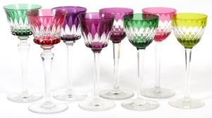 BACCARAT CUT CRYSTAL WINE GLASSES EIGHT