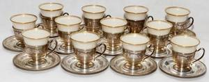 LENOX FM WHITING STERLING DEMITASSE SET