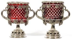 SILVERPLATE WINE COOLERS CRANBERRY GLASS LINERS