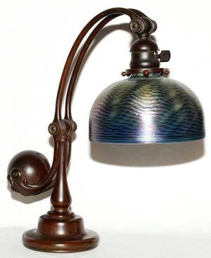 TIFFANY STUDIOS BRONZE DAMASCENE GLASS DESK LAMP
