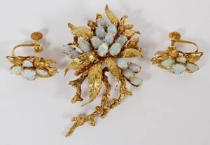 ART NOUVEAU 14KT GOLD OPAL EARRINGS BROOCH SUITE