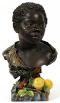 CONTINENTAL MAJOLICA POTTERY BUST OF AFRICAN BOY