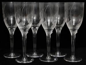 LALIQUE ANGEL WINE GLASSES 6 PIECES