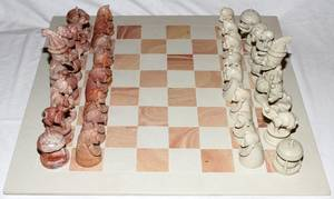 AFRICAN SOAP STONE CHESS SET  BOARD
