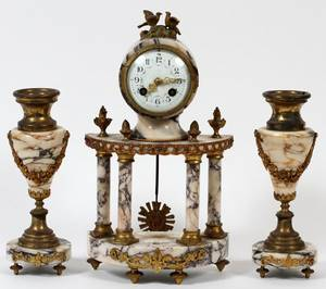 FRENCH MARBLE MANTEL CLOCK  PAIR OF URNS