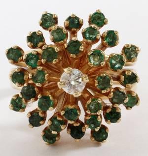14KT GOLD EMERALD  DIAMOND RING 167GR