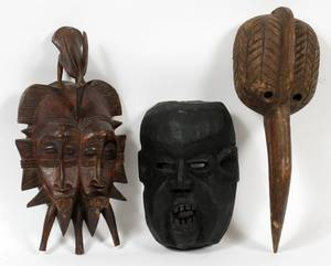 AFRICAN CARVED WOOD CEREMONIAL MASKS