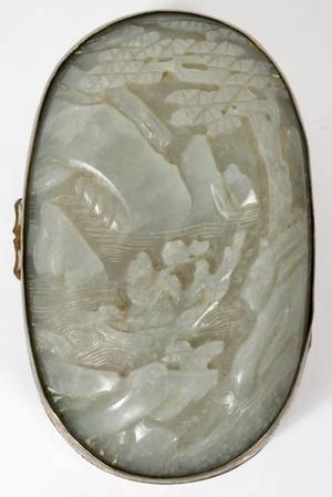 CHINESE CARVED WHITE JADE BOX