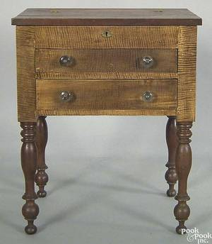 Pennsylvania Sheraton tiger maple and cherry work table ca 1825
