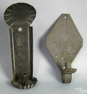 Two American tin wall sconces 18th19th c