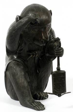 JAPANESE BRONZE MONKEY W INRO