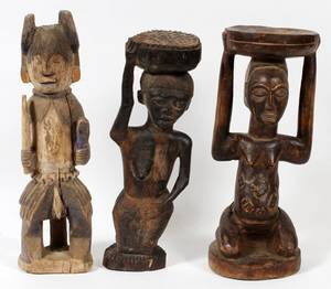 AFRICAN CARVED WOOD FIGURES 3 PCS