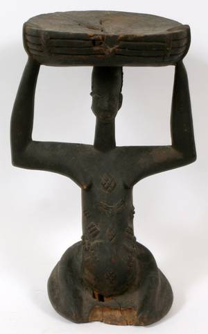 AFRICAN CARVED FIGURAL STOOL
