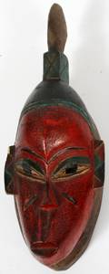 AFRICAN CARVED POLYCHROME TRIBAL MASK C 1950
