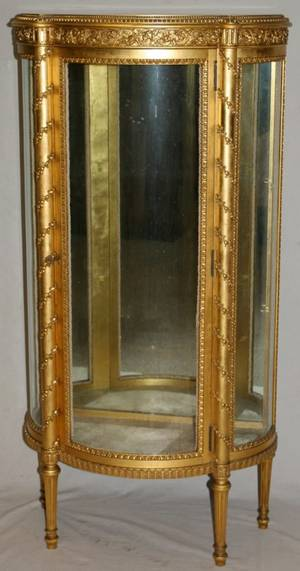 LOUIS XVI STYLE GILT WOOD CURIO CABINET
