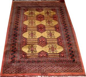 BOKHARA HAND WOVEN ORIENTAL WOOL RUG C 1960