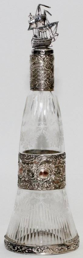 GERMAN 800 SILVER STOPPER ETCHED GLASS BOTTLE