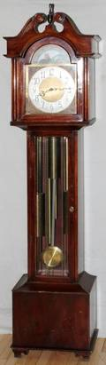 CHIPPENDALE STYLE MAHOGANY GRANDFATHER CLOCK 1941