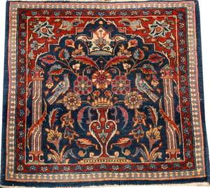ANTIQUE PERSIAN KERMAN WOOL RUG C1930