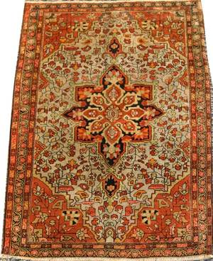 ANTIQUE PERSIAN FARAHAN RUG HAND WOVEN WOOL
