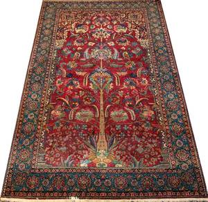 ANTIQUE ISFAHAN HAND WOVEN PERSIAN WOOL RUG