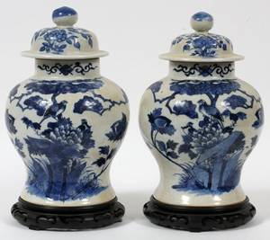CHINESE BLUE  WHITE PORCELAIN GINGER JARS 19TH