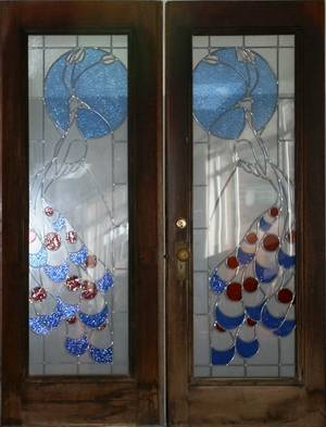 DECO STYLE WALNUT AND LEADED GLASS FRENCH DOORS