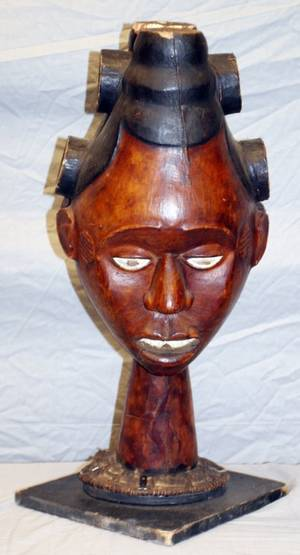 AFRICAN CARVED DUAL FACE SCULPTURE