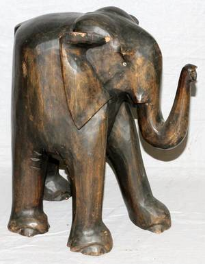 AFRICAN CARVED WOOD FIGURE OF ELEPHANT