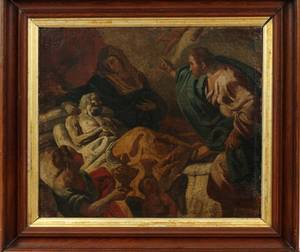EUROPEAN OLD MASTER OIL DEATH OF A SAINT
