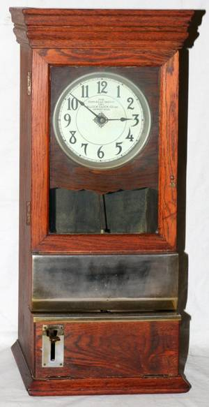HALLOCK CLOCK CO OAK TIME CLOCK