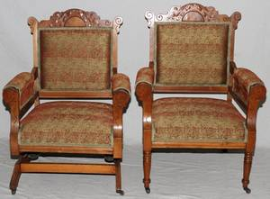 VICTORIAN EASTLAKE WALNUT ROCKING AND SIDE CHAIR