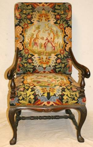 WILLIAM AND MARY STYLE CARVED WALNUT ARMCHAIR