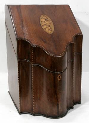 ENGLISH INLAID MAHOGANY KNIFE BOX C1800