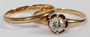 ANTIQUE 14KT YELLOW GOLD  DIAMOND WEDDING RING
