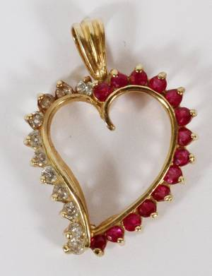 14KT YELLOW GOLD DIAMOND  RUBY HEART PENDANT