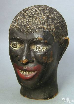 American carved and painted head of a black man 19th c