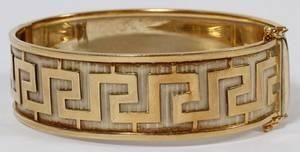 ITALIAN 18KT TWOTONE GOLD BANGLE BRACELET