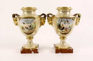 Pair of Old Paris Style Urns on Marble Bases