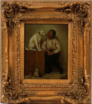 LOUIS BETTS OIL ON WOOD BLACK BOY WITH DOG