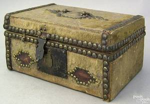 Hide covered lock box 19th c