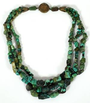TURQUOISE BEAD TRIPLESTRAND NECKLACE