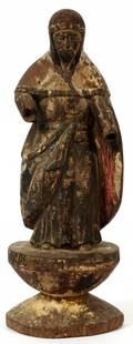 CARVED POLYCHROME MONK STATUE