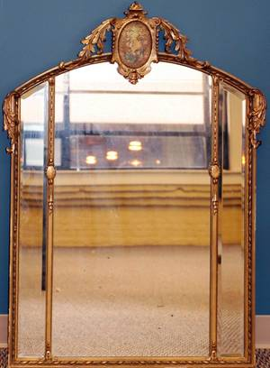 FRENCH GILT WOOD WALL MIRROR C1900