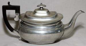 GEORGE ERNEST HAWKINS PEWTER TEAPOT LATE19TH C
