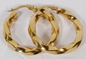ITALIAN 18KT YELLOW GOLD HOOP EARRINGS PAIR