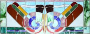 ART DECO STYLE STAINED AND LEADED GLASS WINDOWS