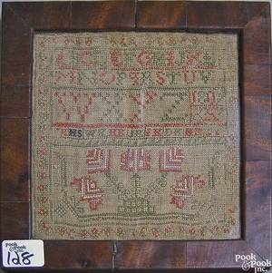 Wool on linen sampler dated 1809