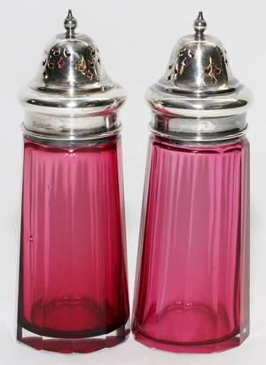 ANTIQUE CRANBERRY GLASS SALT  PEPPER SHAKERS TWO