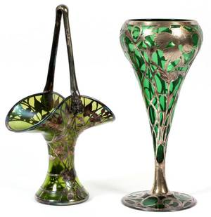 ART NOUVEAU SILVER OVERLAY GLASS BASKET AND VASE
